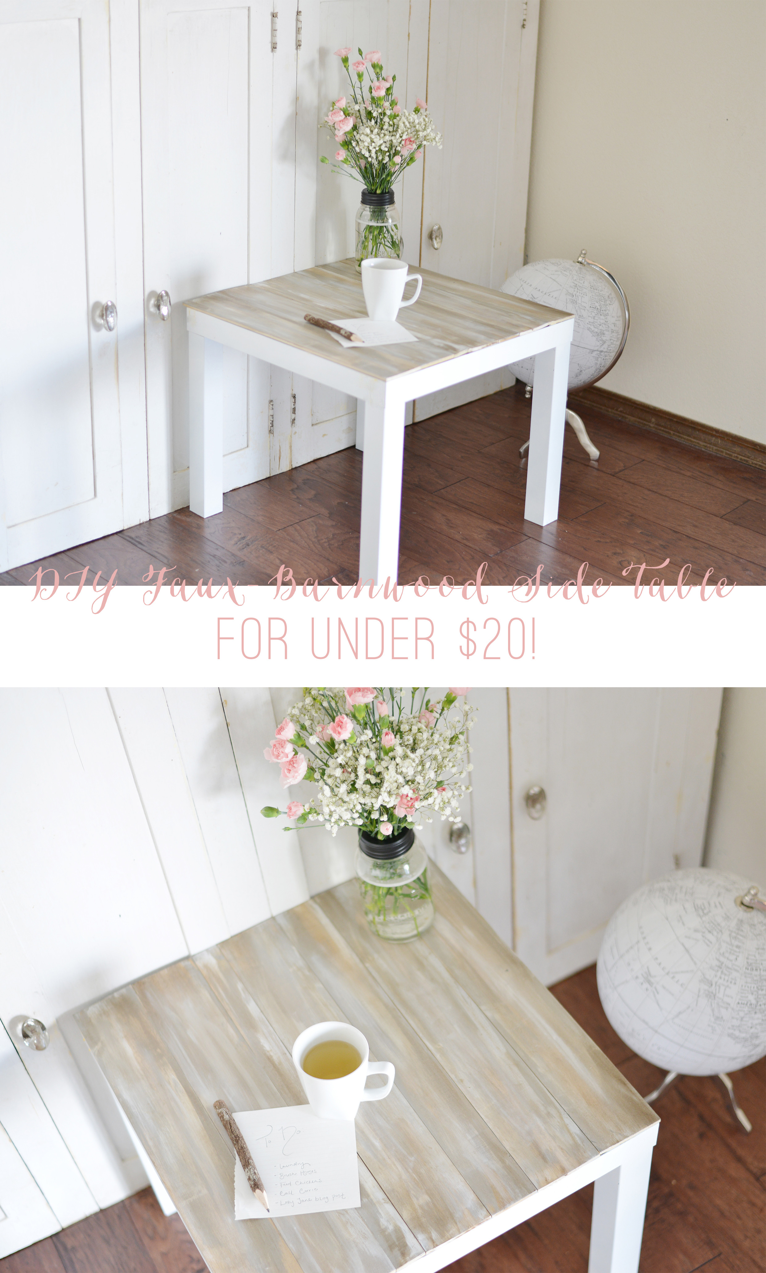 Best ideas about Side Tables DIY . Save or Pin DIY Faux Barnwood Side Table Now.