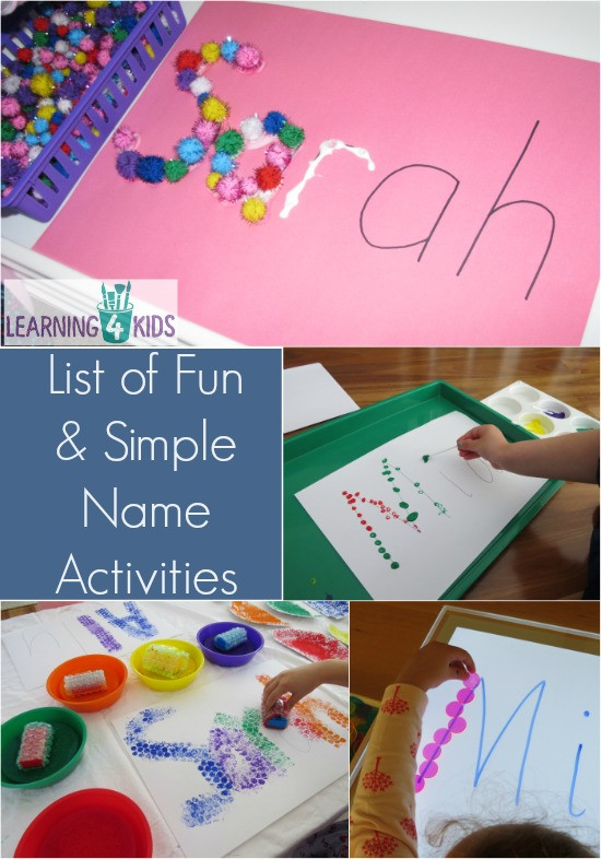 Best ideas about Simple Activities For Kids . Save or Pin List of Simple and Fun Name Activities Now.