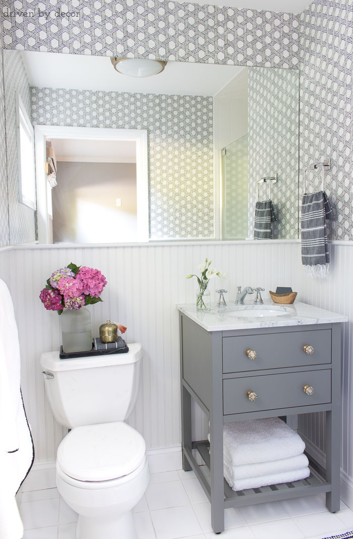 Best ideas about Small Bathroom Remodel . Save or Pin My Secret Weapon for Wallpapering Your Bathroom Now.