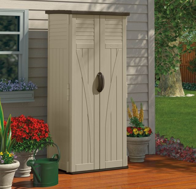 Best ideas about Small Outdoor Storage Cabinet . Save or Pin Outdoor Storage Cabinet Garden Shed Tools Patio Vertical Now.
