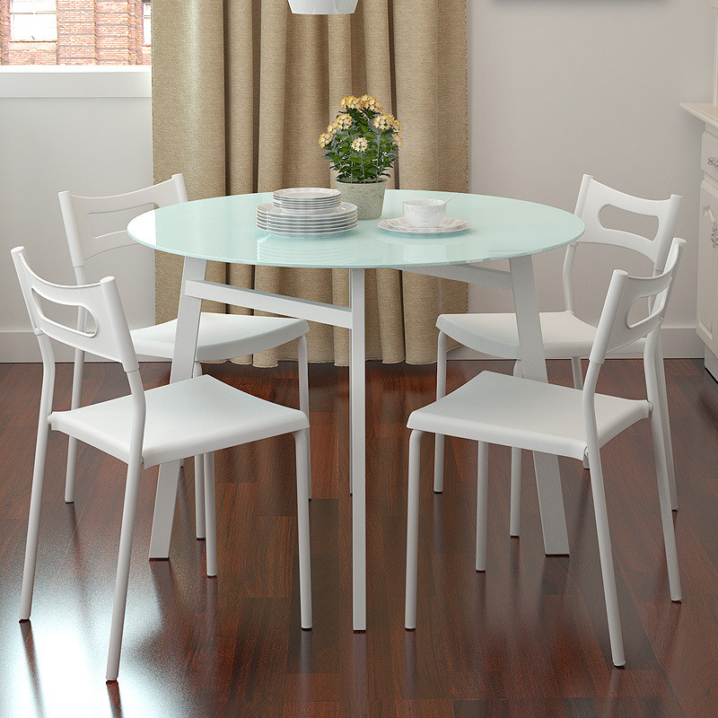 Best ideas about Small Round Dining Table . Save or Pin Simple small apartment Chao soil fashion round glass Now.
