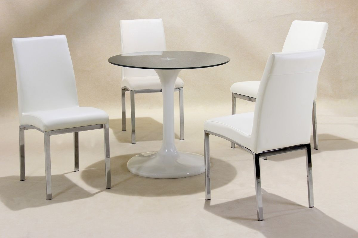 Best ideas about Small Round Dining Table . Save or Pin Small round white high gloss glass dining table and 4 chairs Now.