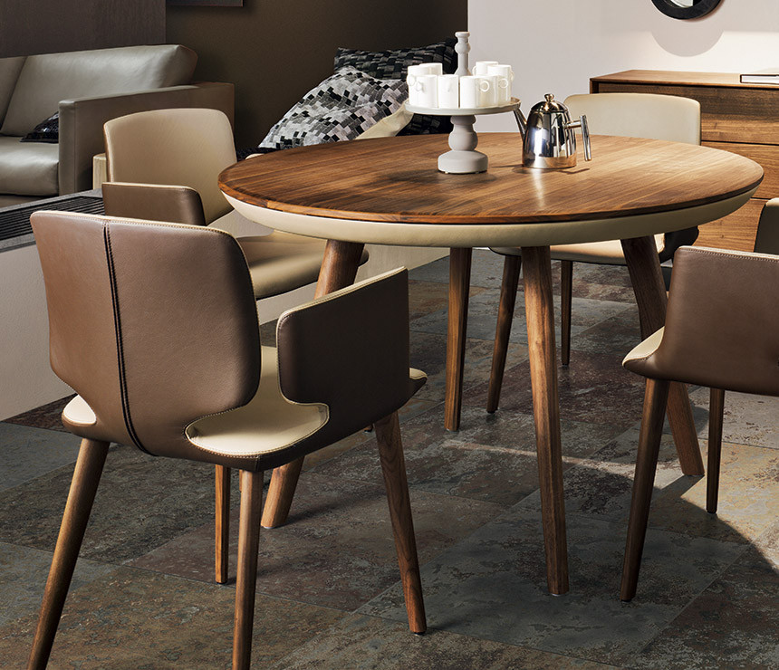 Best ideas about Small Round Dining Table . Save or Pin Round Wood and Leather Dining Table Now.