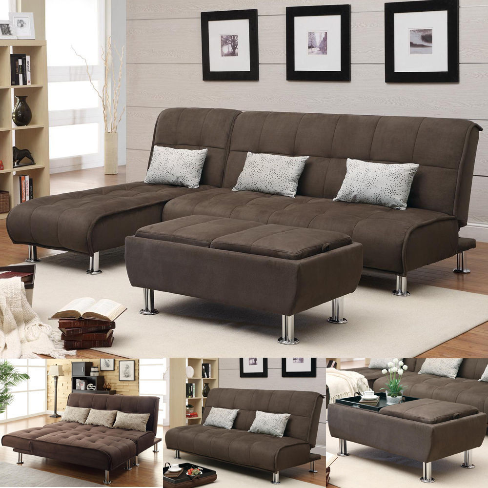 Best ideas about Sofa Sleeper Sectional . Save or Pin Brown Microfiber 3 PC Sectional Sofa Futon Couch Chaise Now.