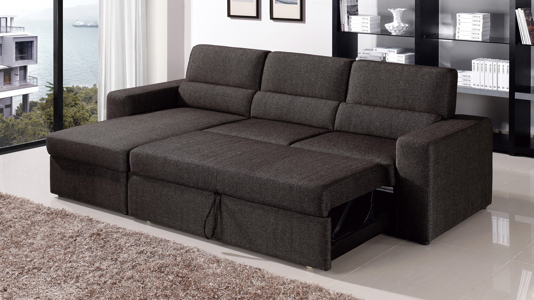 Best ideas about Sofa Sleeper Sectional . Save or Pin Black Brown Clubber Sleeper Sectional Sofa Now.