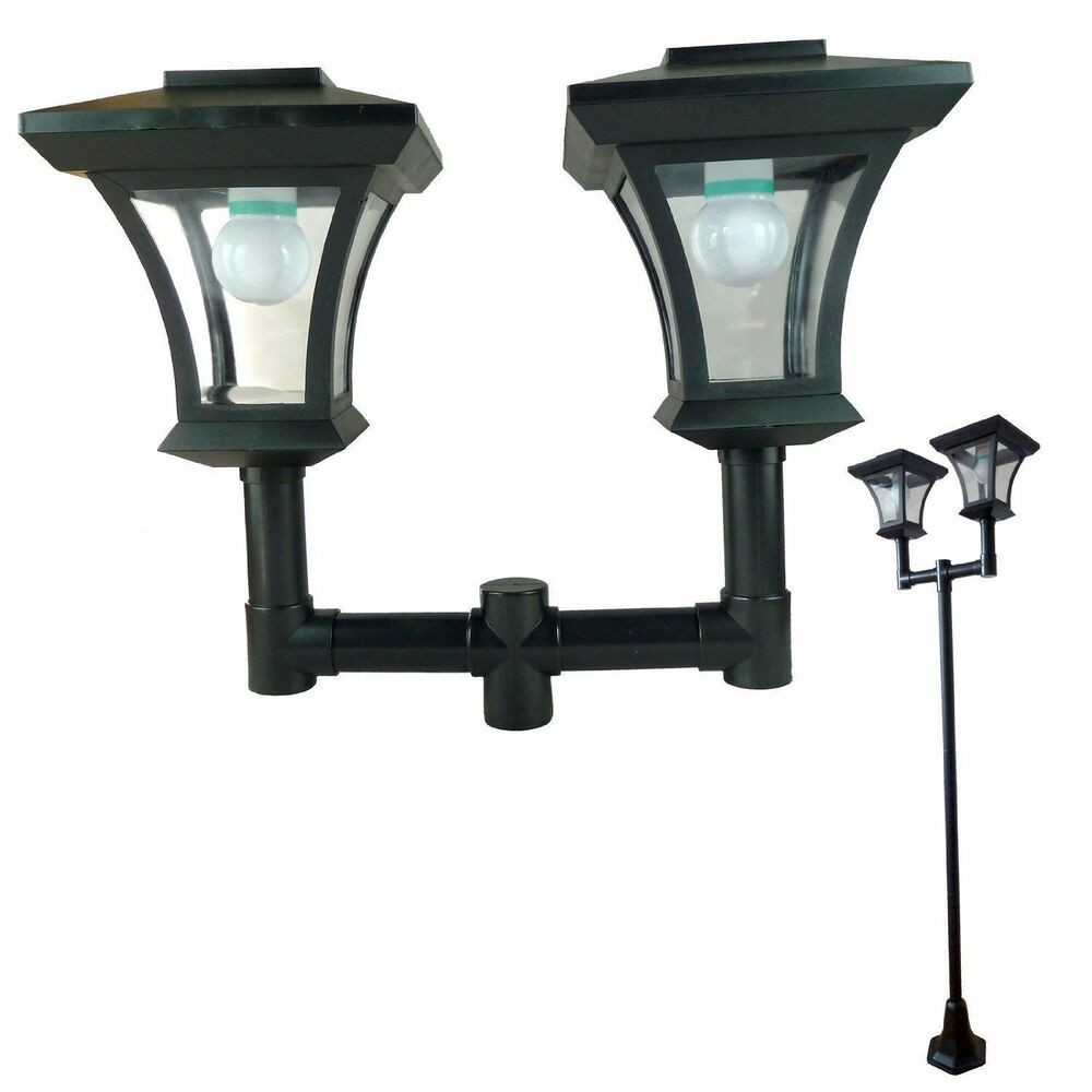 Best ideas about Solar Lamp Post Lights . Save or Pin Twin Head Solar Garden Lamp Post Light Bright White LED 1 Now.
