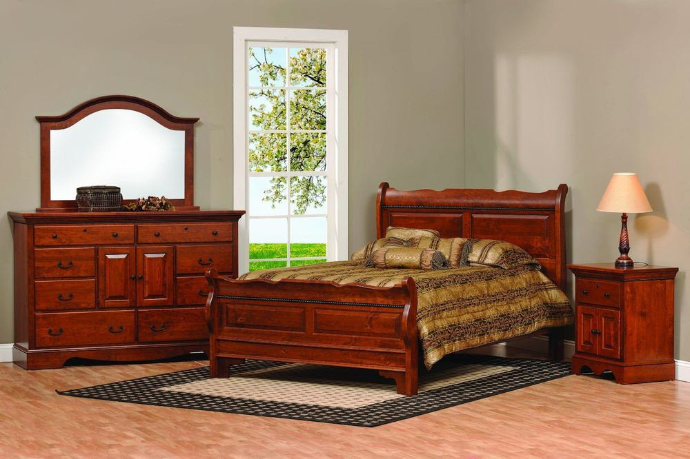 Best ideas about Solid Wood Bedroom Sets . Save or Pin Amish Sleigh Raised Panel Bedroom Set Solid Wood Furniture Now.