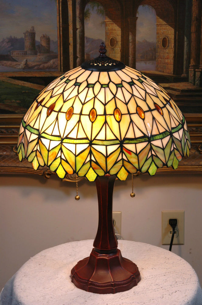"Best ideas about Stained Glass Desk Lamp . Save or Pin 16""W yellow Green Jeweled Stained Glass Tiffany Style Now."