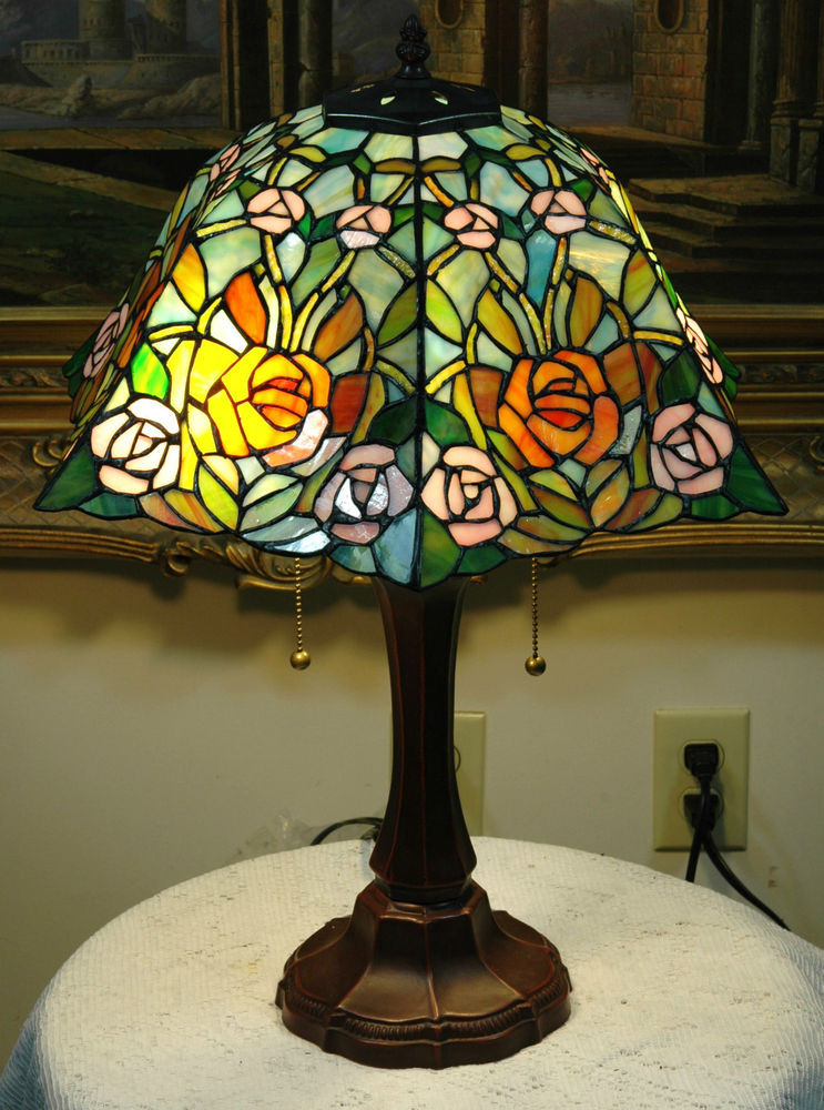 "Best ideas about Stained Glass Desk Lamp . Save or Pin 16""W Roses Stained Glass Tiffany Style Table Desk Lamp Now."