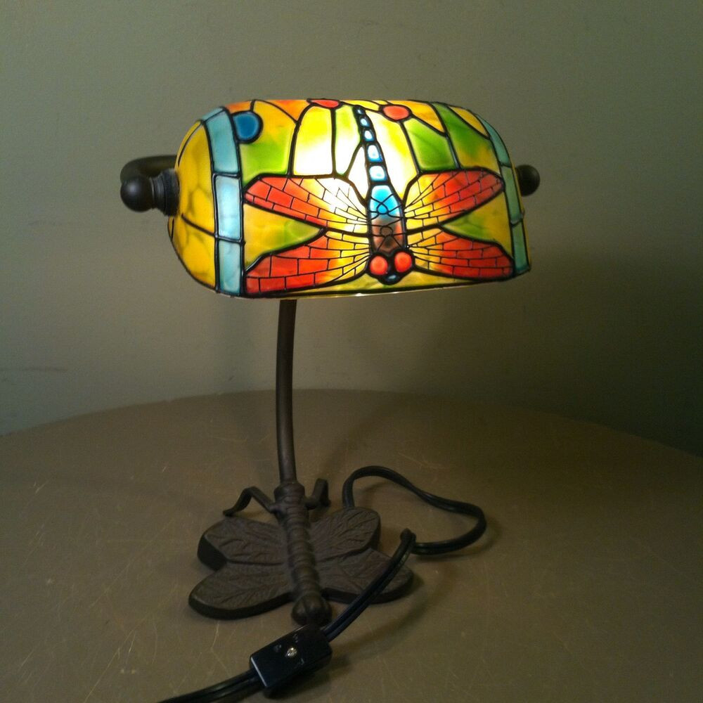 Best ideas about Stained Glass Desk Lamp . Save or Pin Tiffany Style Dragonfly Bankers Desk Lamp Metal BASE Now.