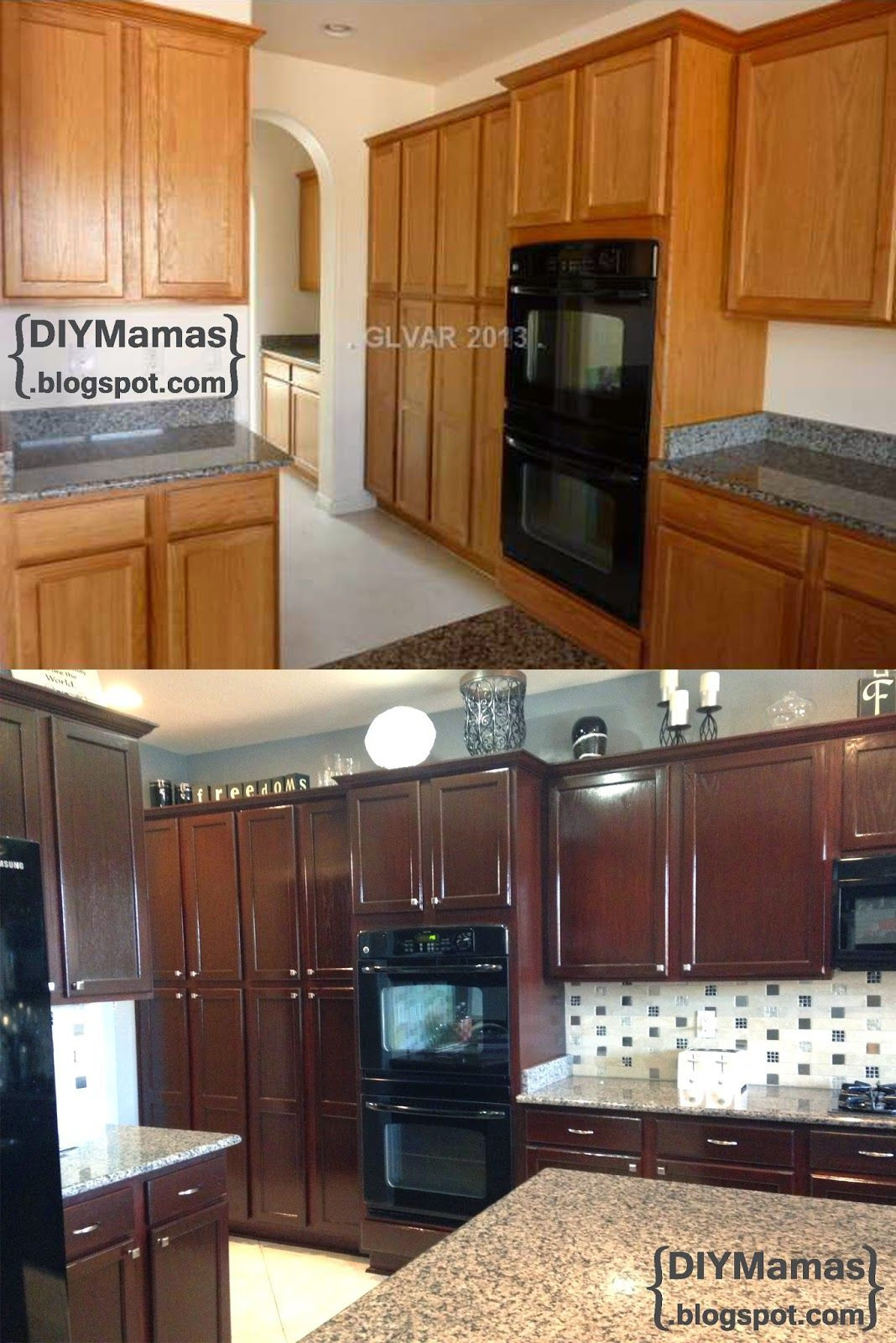Best ideas about Stained Kitchen Cabinets . Save or Pin DIY Mamas Kitchen Makeover Gel Stain Backsplash Now.