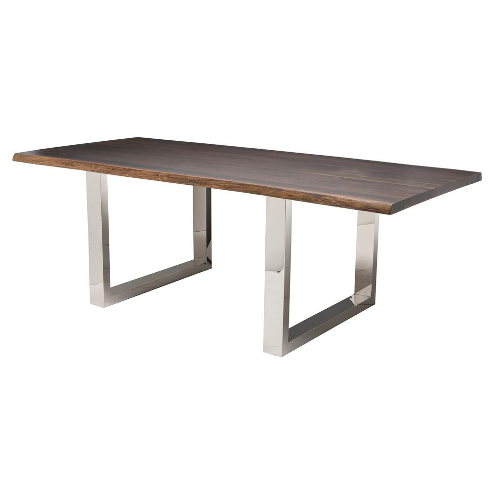 Best ideas about Stainless Steel Dining Table . Save or Pin Zinnia Industrial Brown Oak Stainless Steel Dining Table 78W Now.