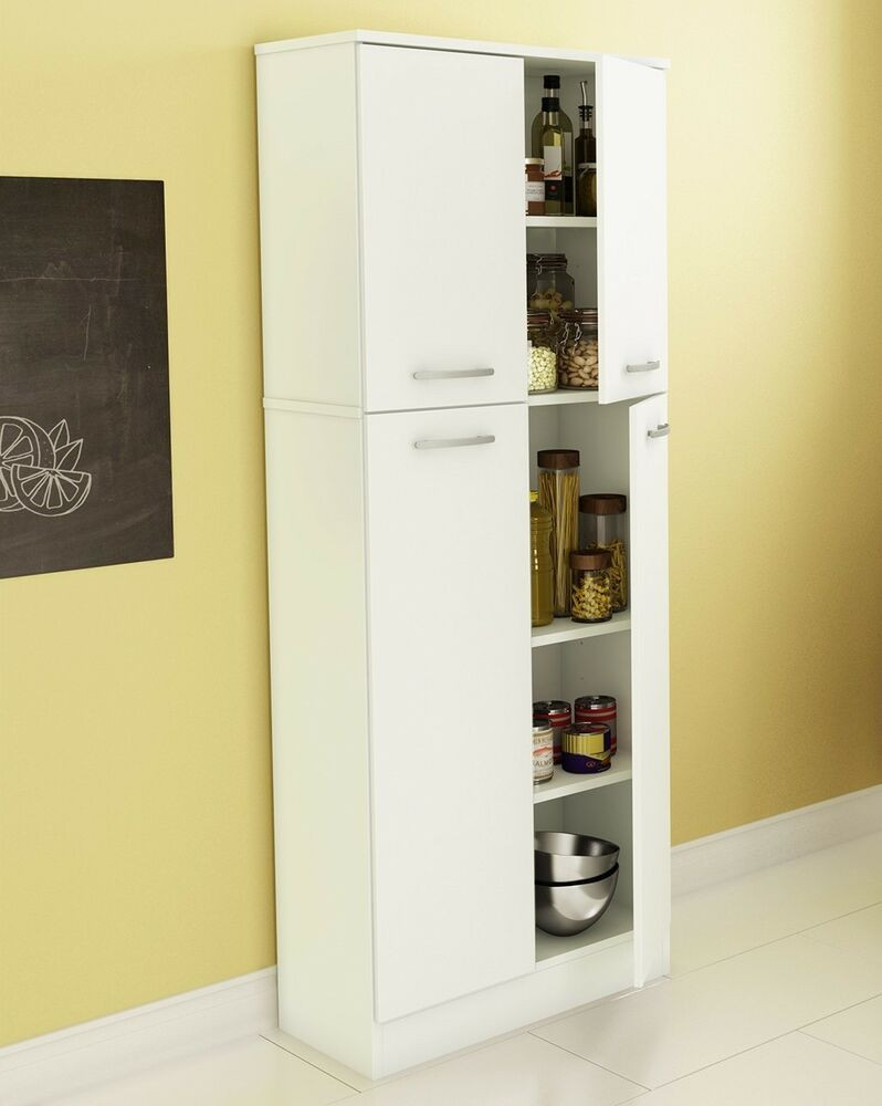 Best ideas about Tall Pantry Cabinet . Save or Pin Food Pantry Cabinet White Doors Tall Storage Kitchen Now.