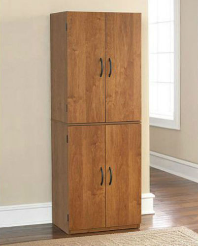 Best ideas about Tall Pantry Cabinet . Save or Pin Tall Kitchen Pantry Shelf Food Storage Cabinet Wood Now.