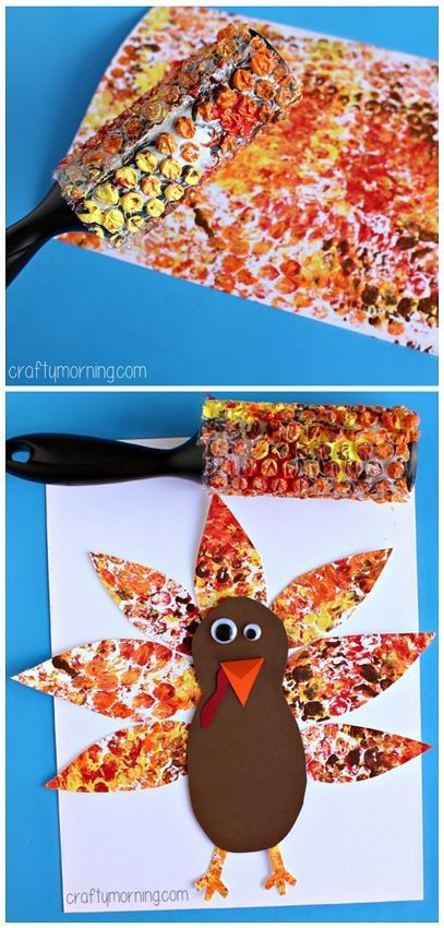 Best ideas about Thanksgiving Art Projects For Preschoolers . Save or Pin Bubble Wrap Printed Turkey Art Project Thanksgiving craft Now.
