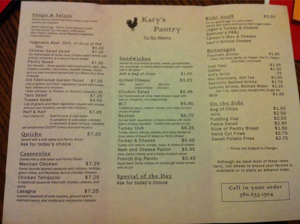 Best ideas about The Pantry Menu . Save or Pin Menu at Katy s Pantry cafe Enid W Willow Rd Now.