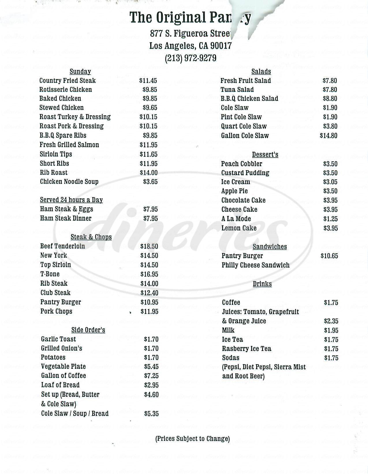 Best ideas about The Pantry Menu . Save or Pin The Original Pantry Cafe Menu Los Angeles Dineries Now.