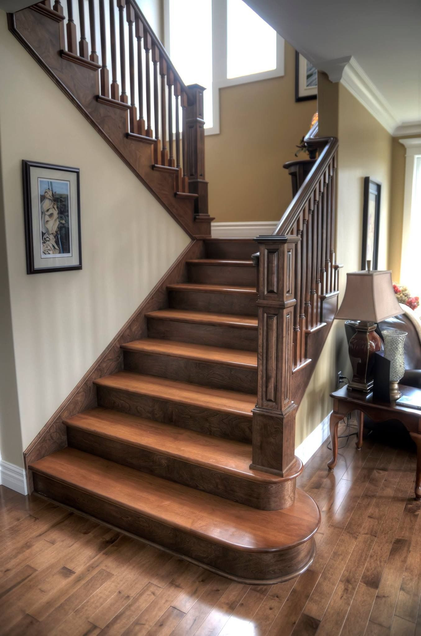 Best ideas about The Staircase 2 . Save or Pin Two tone staircase with custom posts railing stairs Now.