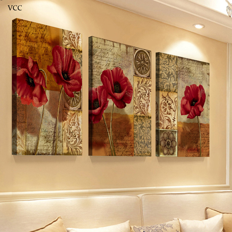 Best ideas about Three Piece Wall Art . Save or Pin 3 Piece Canvas Art Flowers Paintings The Wall Wall Art Now.