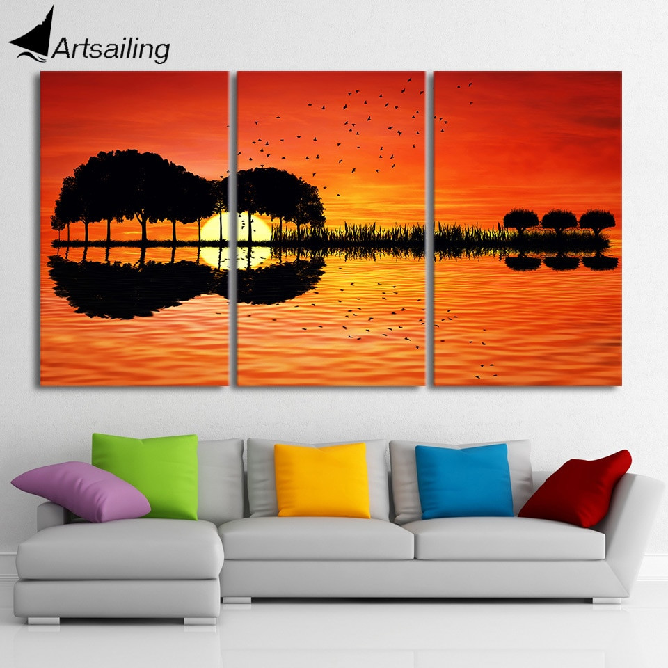 Best ideas about Three Piece Wall Art . Save or Pin 3 piece canvas wall art HD Printed guitar tree lake sunset Now.