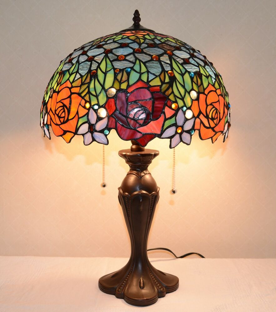 "Best ideas about Tiffany Style Desk Lamp . Save or Pin 16""W Roses Peony Jeweled Stained Glass Tiffany Style Table Now."