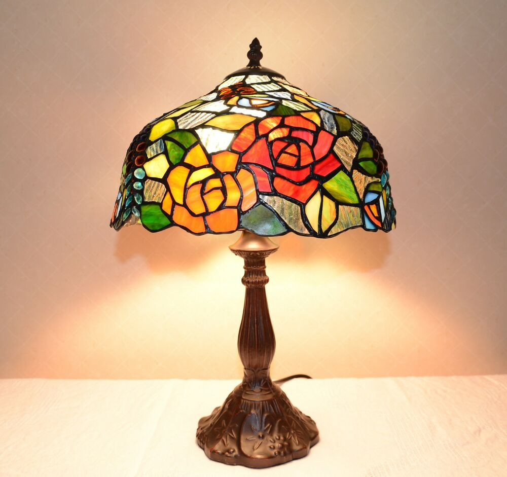 "Best ideas about Tiffany Style Desk Lamp . Save or Pin 12""W Flowers Stained Glass Tiffany Style Table Desk Lamp Now."
