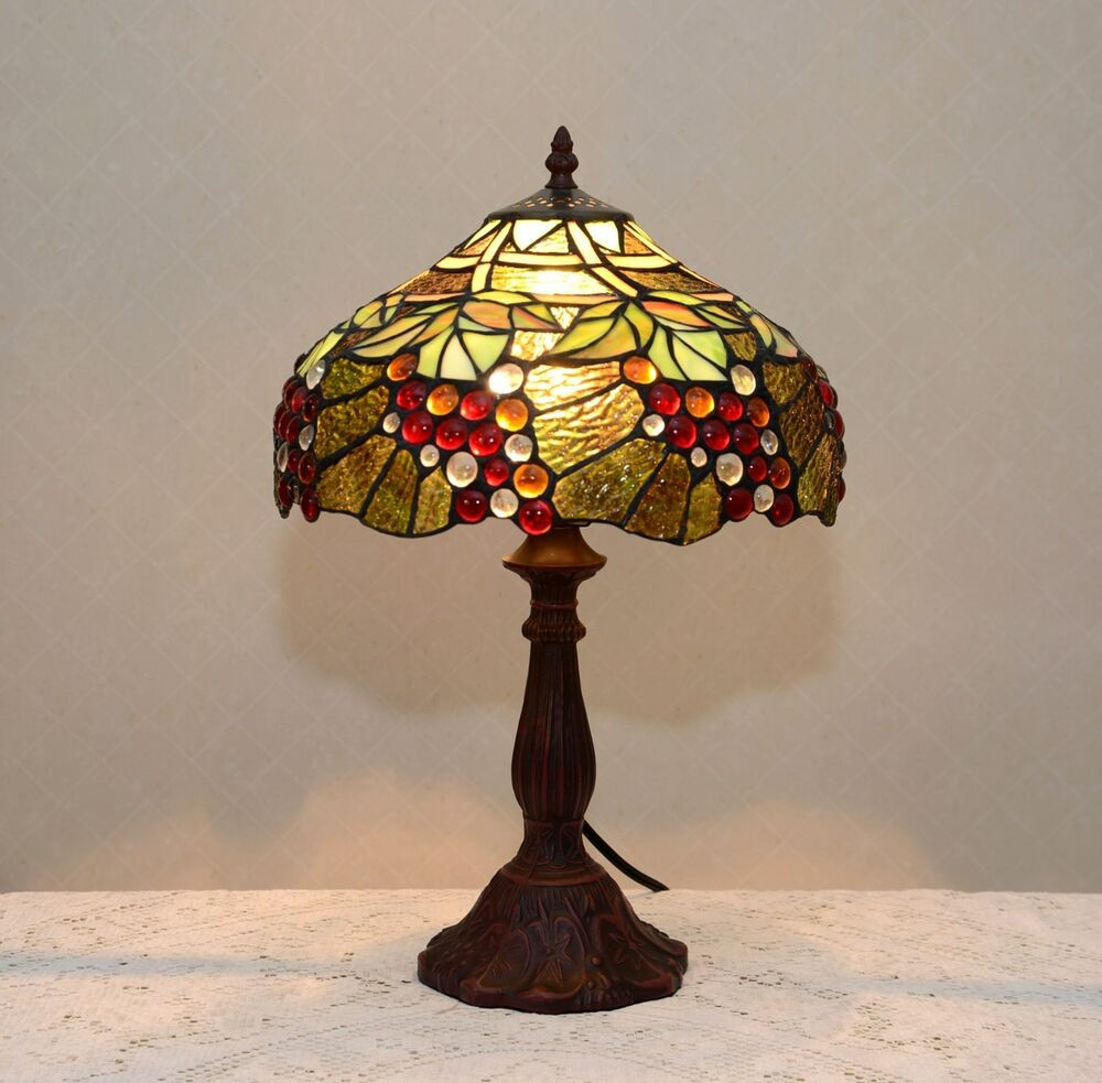 "Best ideas about Tiffany Style Desk Lamp . Save or Pin 12""W Zinc Base Grape Vine Tiffany Style Stained Glass Now."