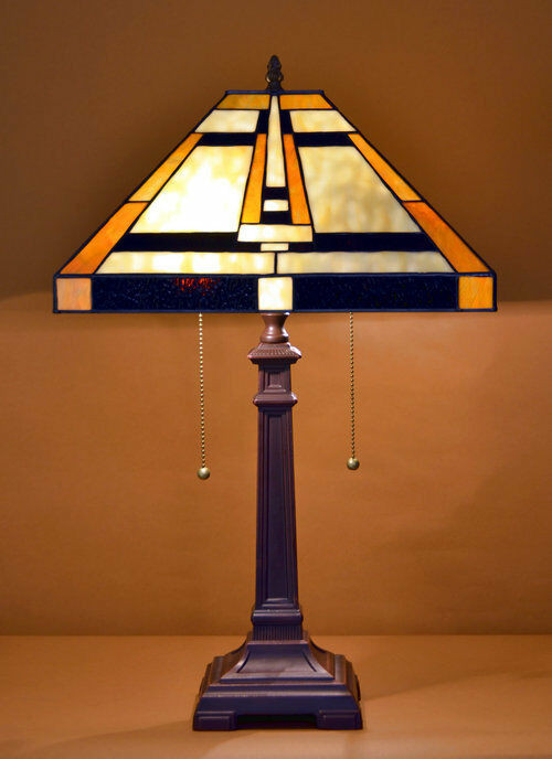"Best ideas about Tiffany Style Desk Lamp . Save or Pin 14 5""W Mission style Stained Glass Tiffany Style Table Now."