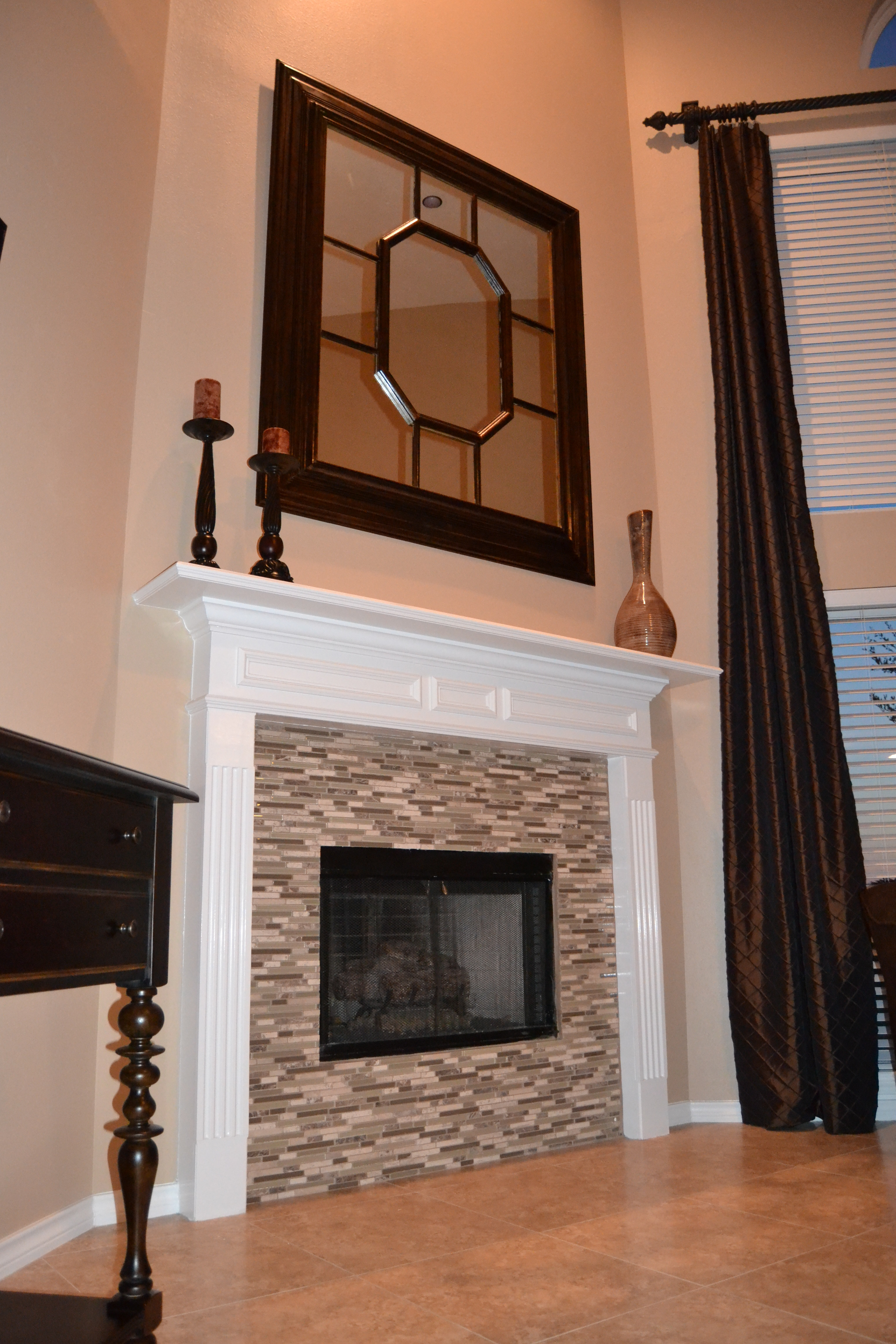 Best ideas about Tile For Fireplace . Save or Pin glass mosaic tile fireplace Now.
