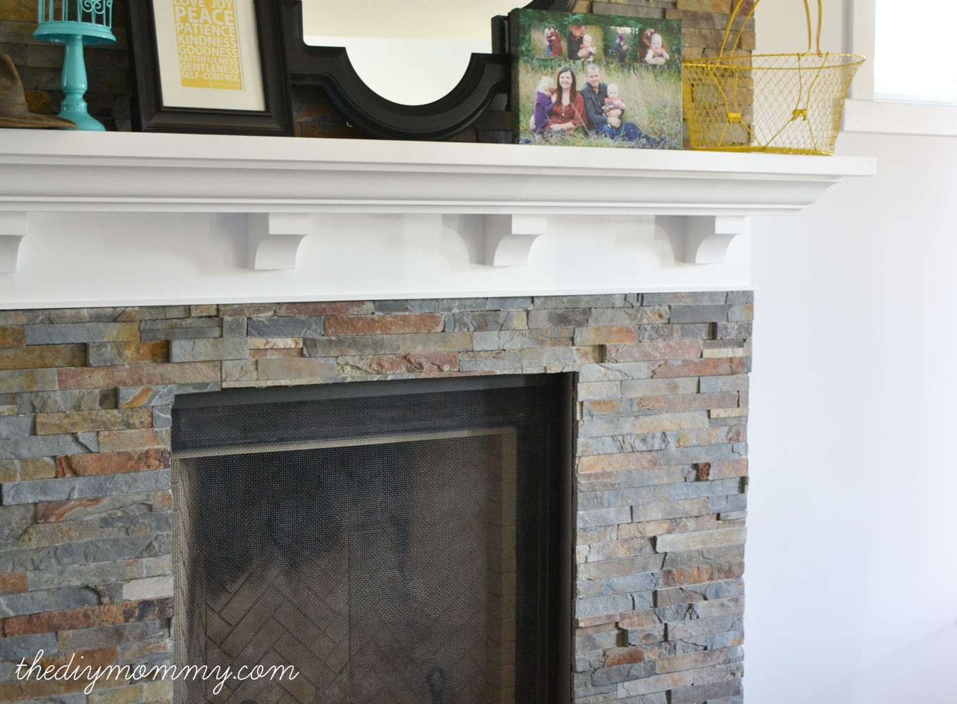 Best ideas about Tile For Fireplace . Save or Pin Building Our Fireplace Installing the Slate Split Face Now.