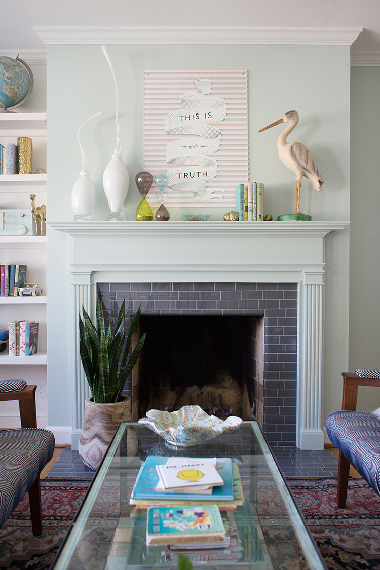 Best ideas about Tile For Fireplace . Save or Pin DIY Tile Fireplace Makeover with Peel and Stick Tiles Now.