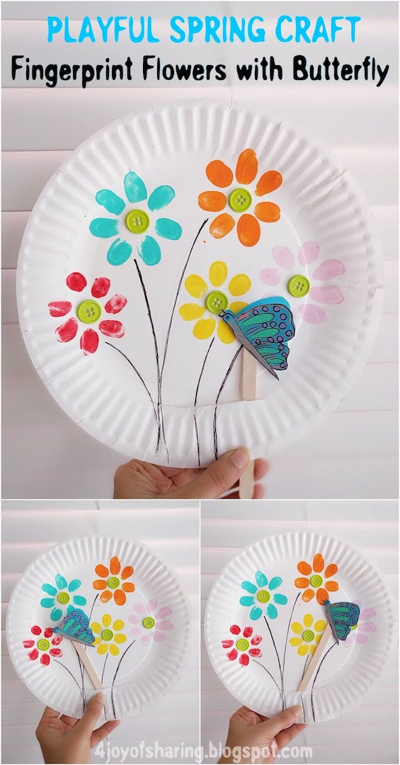 Best ideas about Toddlers Crafts For Spring . Save or Pin Fingerprint Flowers And Flying Butterfly Playful Spring Now.