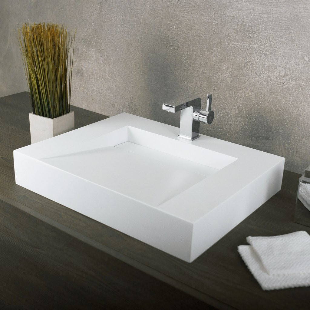 Best ideas about Top Mount Bathroom Sink . Save or Pin DAX Solid Surface Rectangle Single Bowl Top Mount Bathroom Now.