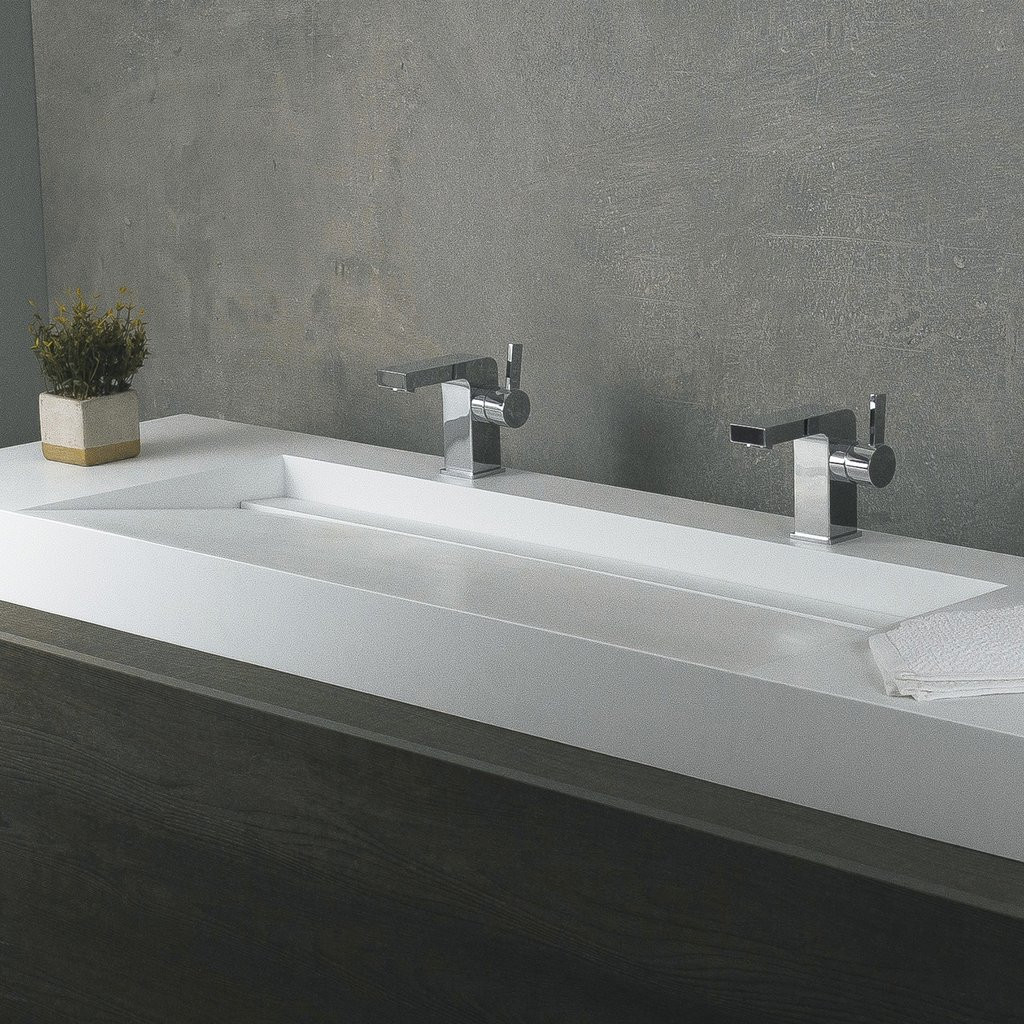 Best ideas about Top Mount Bathroom Sink . Save or Pin DAX Solid Surface Rectangle Double Bowl Top Mount Bathroom Now.