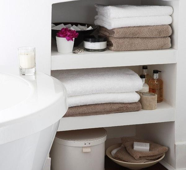 Best ideas about Towel Storage Ideas For Small Bathrooms . Save or Pin Bathroom Shelf Decorating Ideas Small Storage for Towel Now.