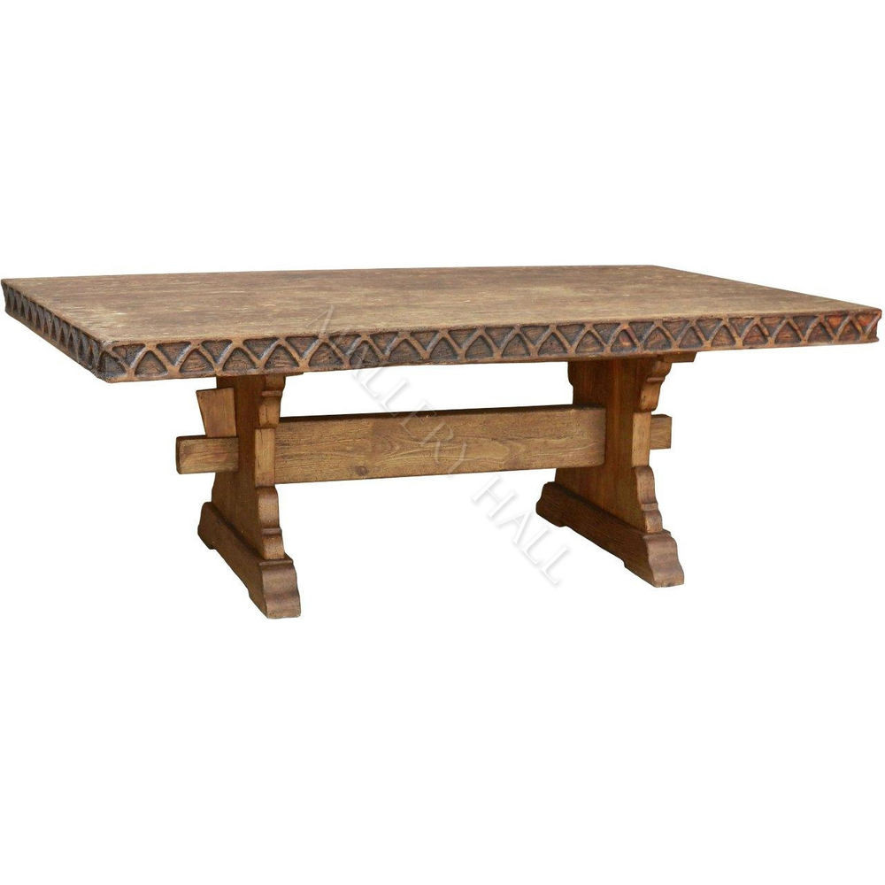 Best ideas about Trestle Dining Table . Save or Pin Solid Wood Carved Trim Double Trestle Pedestal Base Now.