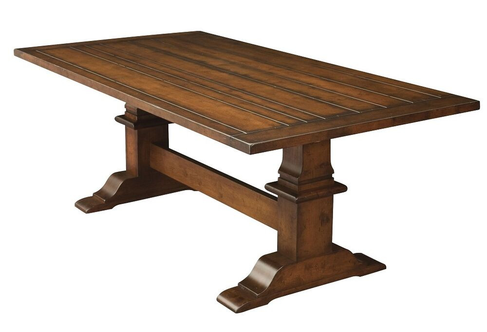 Best ideas about Trestle Dining Table . Save or Pin Amish Rustic Trestle Dining Table Plank Farmhouse Cabin Now.