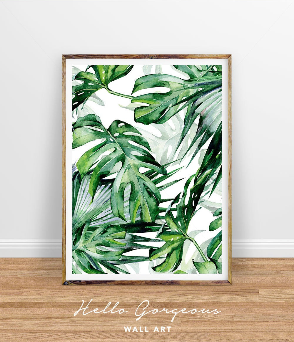 Best ideas about Tropical Wall Art . Save or Pin Monstera Leaf Print Tropical Palm Leaves Print Tropical Wall Now.