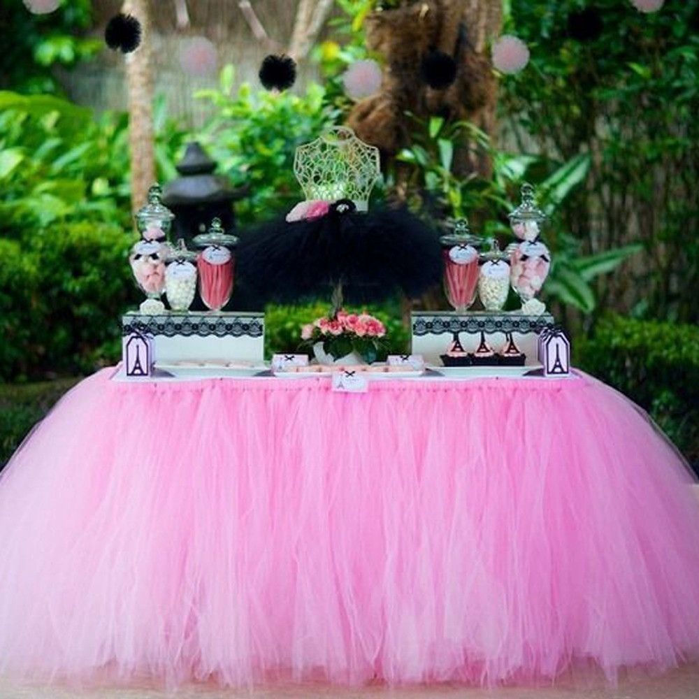 Best ideas about Tulle Table Skirt DIY . Save or Pin 1Pcs 15 Colors Tulle Table Skirt DIY Tutu Tableware Skirts Now.