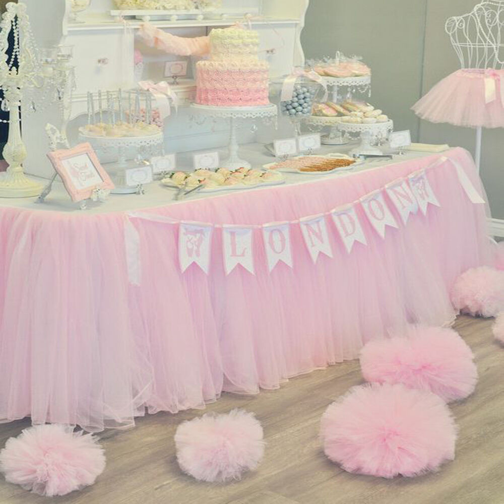 Best ideas about Tulle Table Skirt DIY . Save or Pin Cute PINK Tulle Tutu Table Skirt Wedding Party Xmas Baby Now.