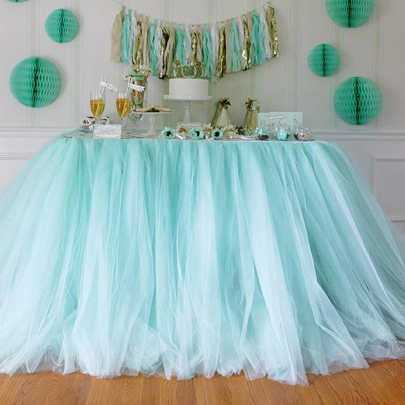 Best ideas about Tulle Table Skirt DIY . Save or Pin DIY 80CM Height Organza Table Skirt Cloth Reception Desk Now.