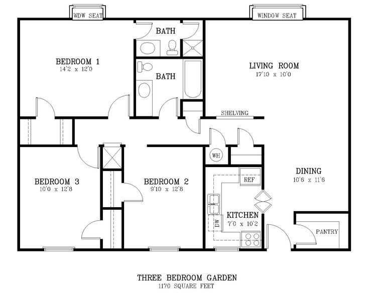 Best ideas about Typical Bedroom Size . Save or Pin standard living room size courtyard 3 br floor plan Now.