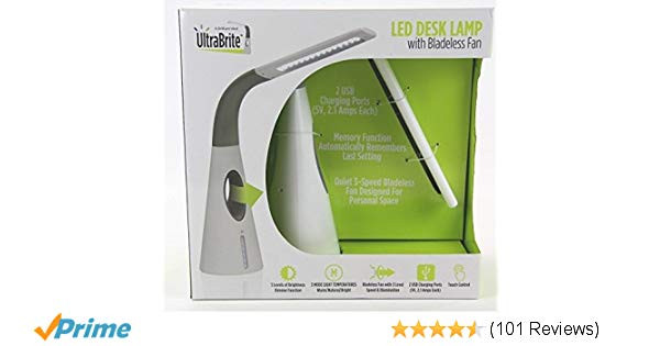 Best ideas about Ultrabrite Led Desk Lamp With Bladeless Fan . Save or Pin Ultra Brite LED Desk Lamp with Bladeless Fan White Now.