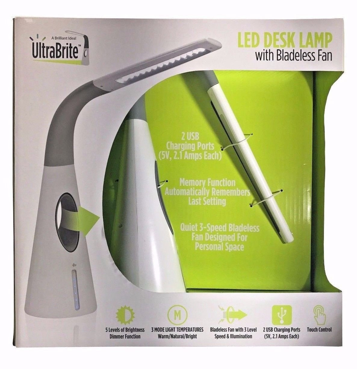 Best ideas about Ultrabrite Led Desk Lamp With Bladeless Fan . Save or Pin UltraBrite LED Desk Lamp with Bladeless Fan 2 USB Charging Now.