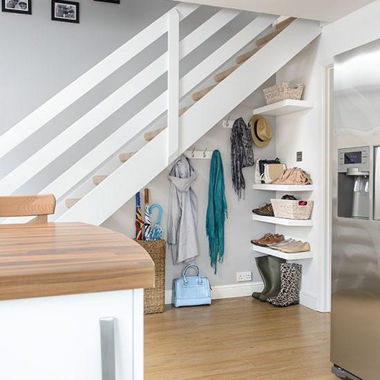 Best ideas about Under Stair Storage Ideas . Save or Pin Hallway with understairs storage Now.