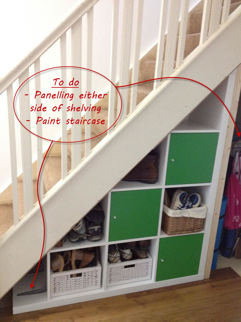Best ideas about Under The Stairs Storage . Save or Pin Ikea Expedit hack under stairs storage Now.