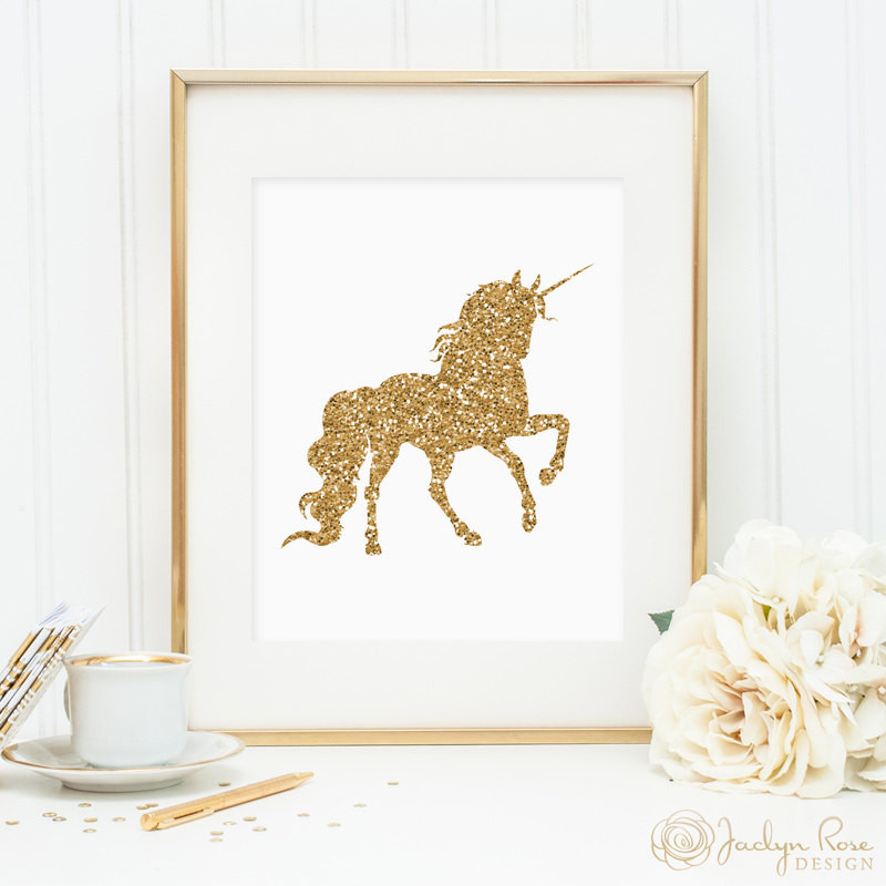 Best ideas about Unicorn Wall Art . Save or Pin Unicorn print printable wall art decor gold glitter unicorn Now.