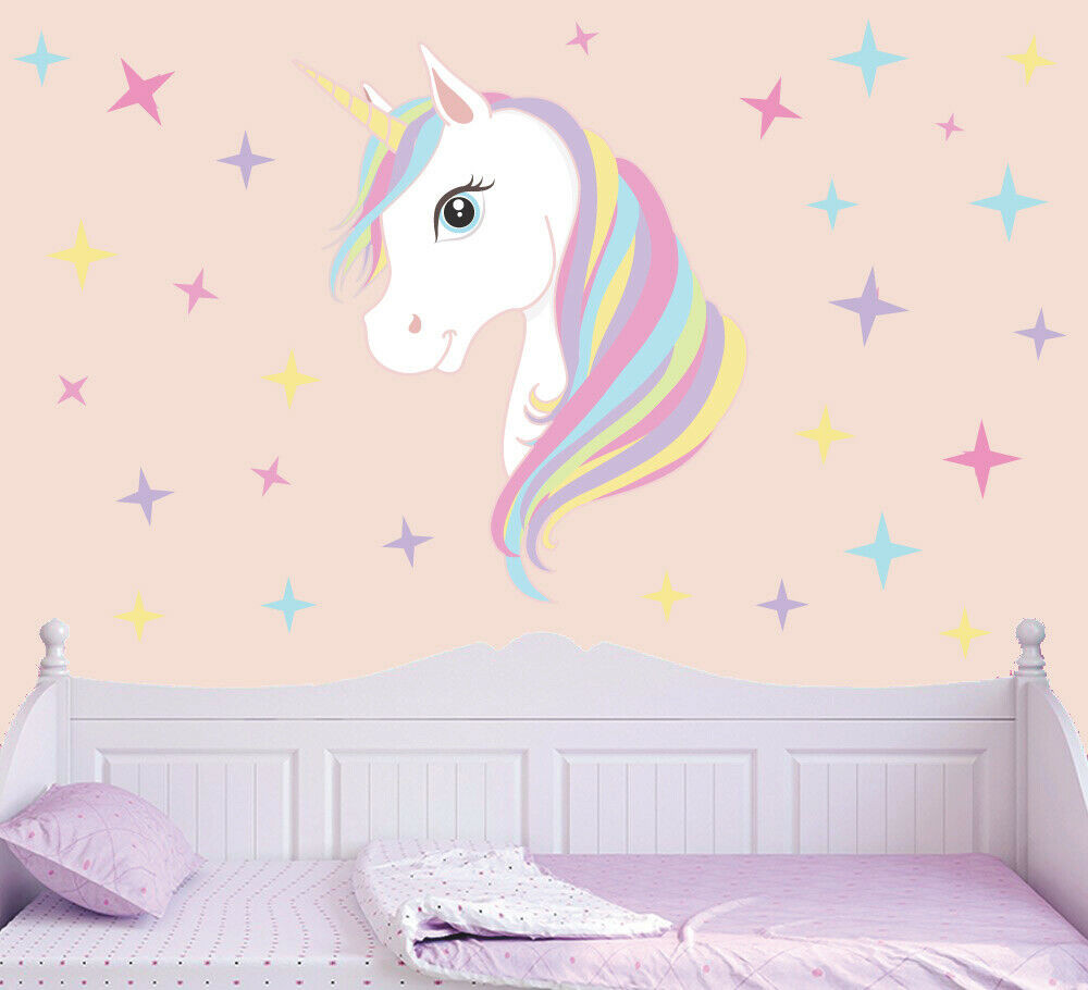 Best ideas about Unicorn Wall Art . Save or Pin Colourful Unicorn & Stars Wall Art Vinyl Stickers Girls Now.