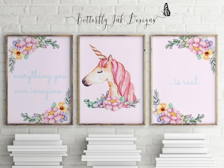 Best ideas about Unicorn Wall Art . Save or Pin Unicorn prints children s prints set of 3 prints Now.