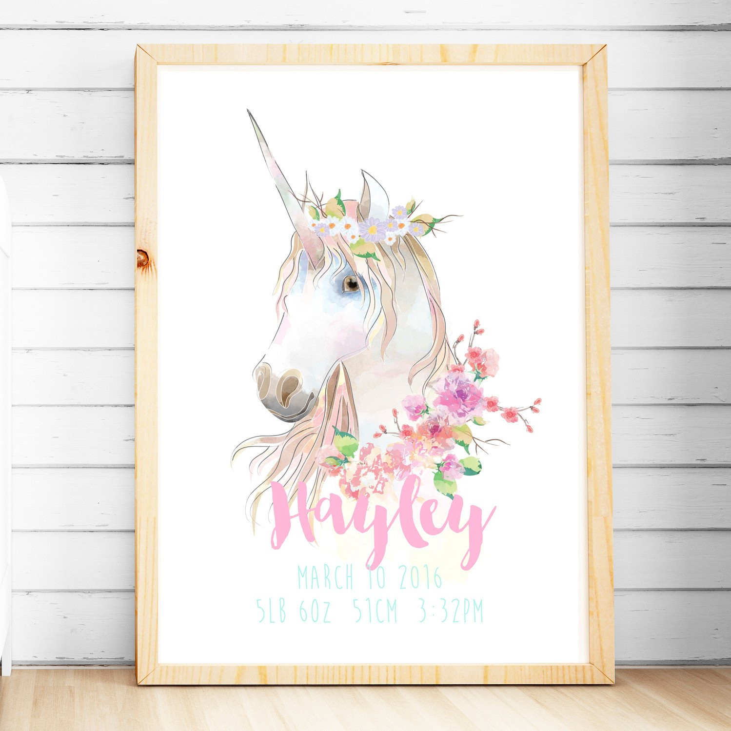 Best ideas about Unicorn Wall Art . Save or Pin Personalised Birth Prints Baby Name Wall Art Now.